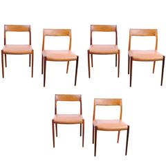 Set of Six Rosewood Moller Mod. 77 Dining Chairs