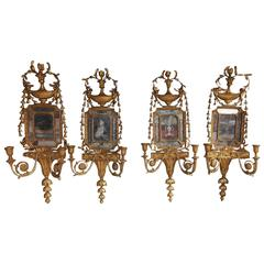 Set of Four George III Gilt Floral Mirror Wall Sconces, Circa 1780