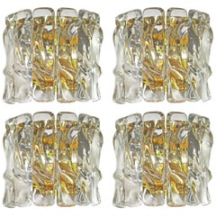 "Set of Four Italian ""Ice"" Crystal Wall Sconces"