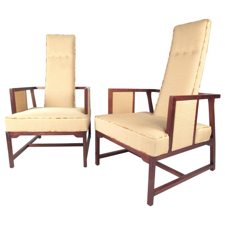 Mid century modern pair sculptural teak high back for Mid century modern armchairs