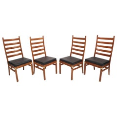 Set of Mid-Century Modern Ladder Back Dining Chairs