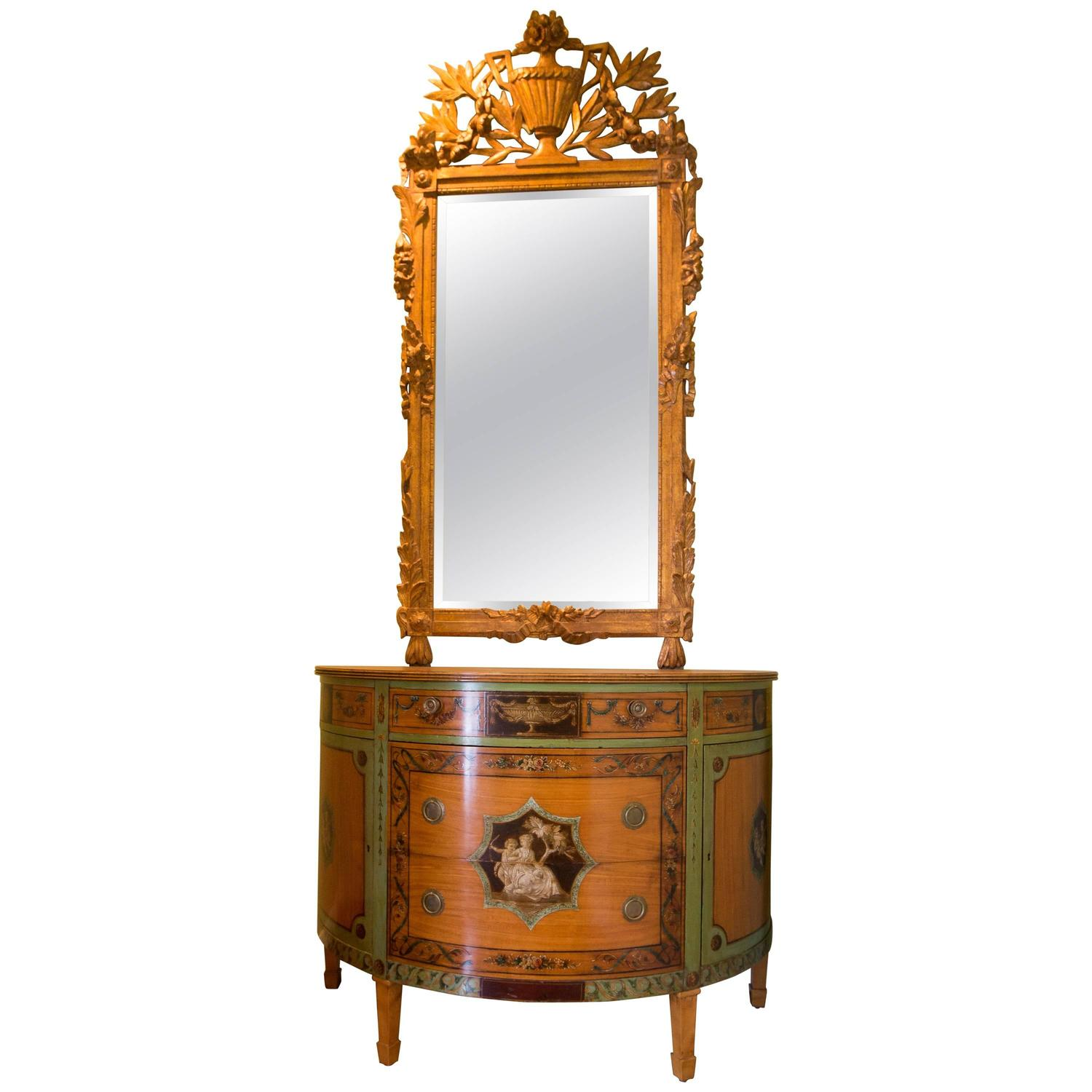 Victorian George Iii Demilune Satinwood Cabinet And Mirror