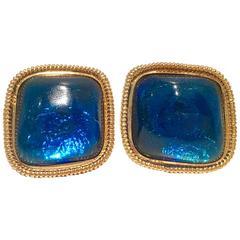 1980s Kenneth Jay Lane Lucite Glitter Diamond Earrings