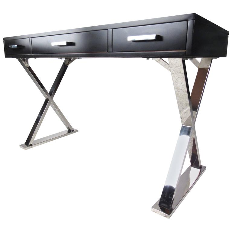 Contemporary Modern Desk With Chrome Base For