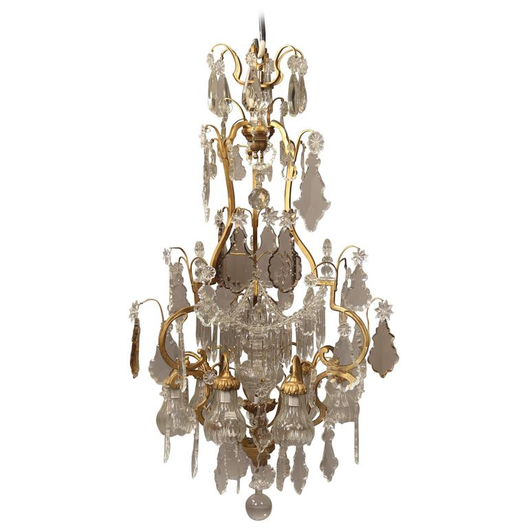 Nice Early 20th Century Gilt Bronze and Crystal Nine-Light Chandelier