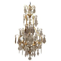 Nice Early 20th Century Gilt Bronze and Crystal Nine-Light Chandelier
