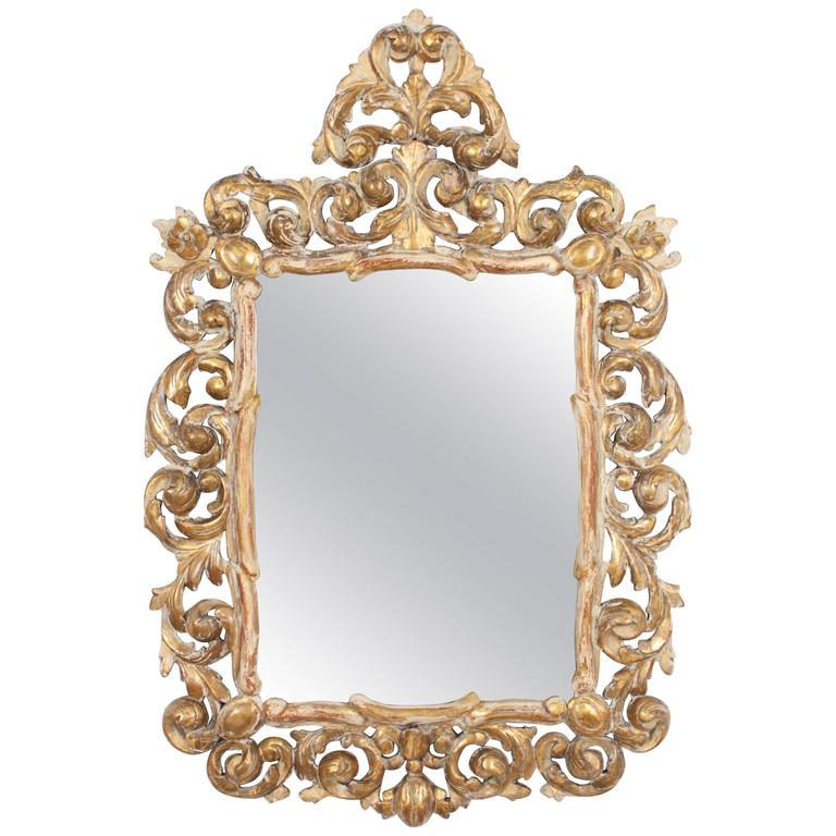19th century rococo style giltwood mirror in white patina for White baroque style mirror