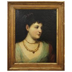 Antique Oil on Canvas Portrait of a Lady, 19th Century