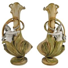 Late 19th Century Pair of Imperial Amphora Art Nouveau Vases, Lily with Girls