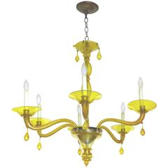 Mid-Century Murano Glass Yellow Six-Light Chandelier