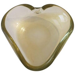 Italian Murano Clear and Gold Art Glass Bowl or Ashtray After Seguso
