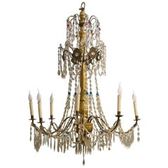 Crystal  Italian Genoese Chandelier 18th Century, Perfectly restored.