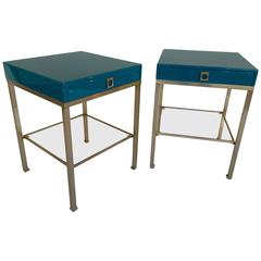 Pair of Lacquered Side Tables by Guy Lefevre for Maison Jansen, 1970s, France
