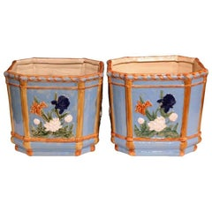 Pair of 19th Century French Hand-Painted Barbotine Cache Pots with Flowers