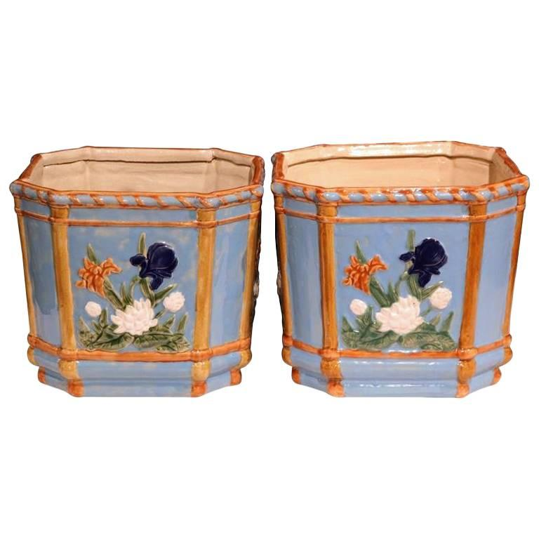Pair of 19th Century French Hand Painted Barbotine Cachepots with Floral Motifs For Sale