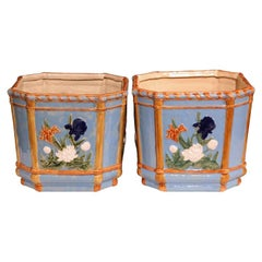 Pair of 19th Century French Hand Painted Barbotine Cachepots with Floral Motifs