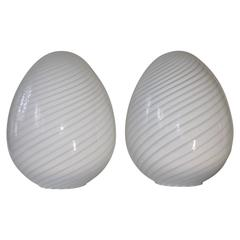 Vetri Murano Glass Swirled Egg Lamps- Two Pairs Available