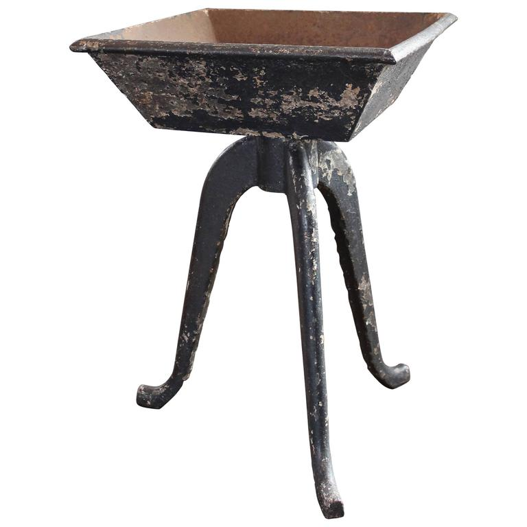 Rustic Vintage Industrial Cast Iron Planter Stand Table