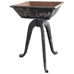 Rustic Vintage Industrial Cast Iron Planter, Stand Table Art