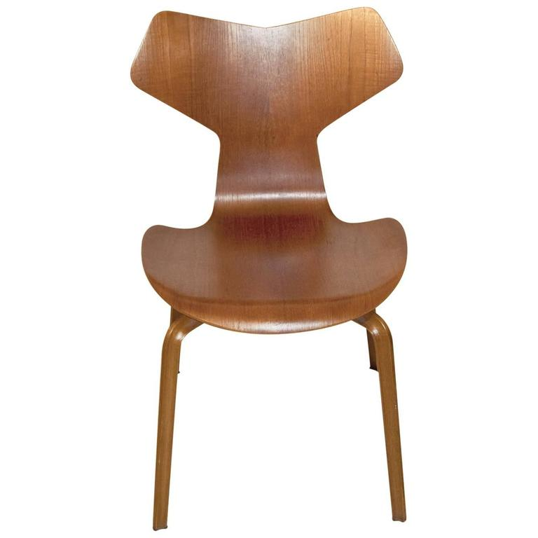 danish teak grand prix side chair designed by arne jacobsen at 1stdibs