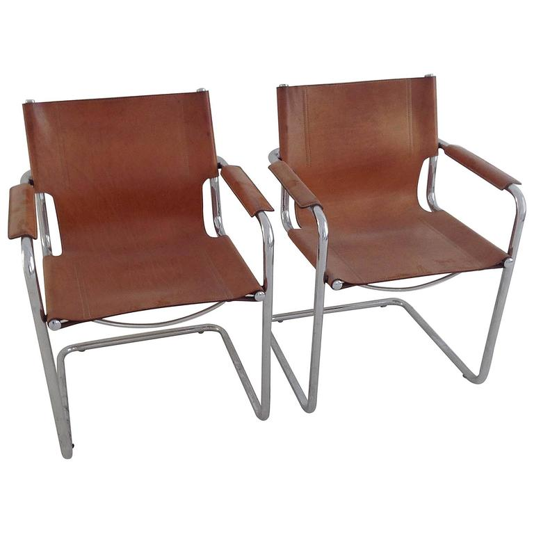 Pair Of Italian Leather Matteo Grassi Visitor Chairs At