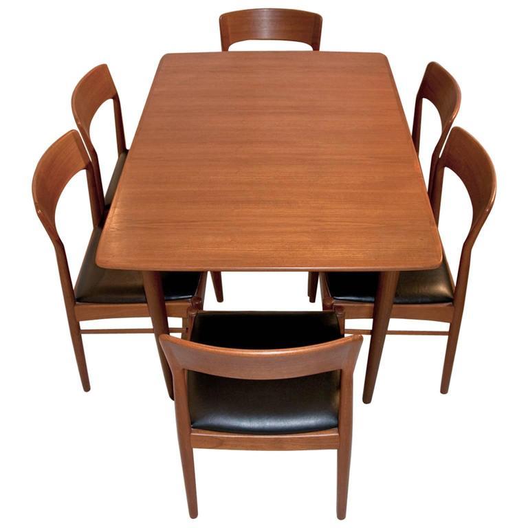 Danish teak dining set for ks korub m ble designed by kai kristiansen at 1stdibs - Scandinavian teak dining room furniture design ...