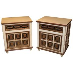 Artes de Mexico Polychrome Mirrored One-Drawer Side Cabinets