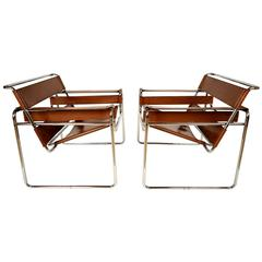 Pair of Chrome and Leather Wassily Chairs Design by Marcel Breuer