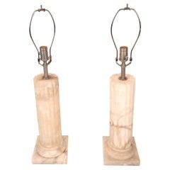 Pair of Mid-Century Modern Marble Pedestal Lamps