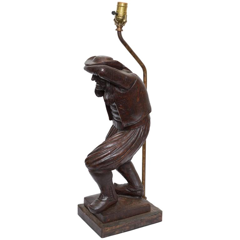 19th Century Wood Carved Lamp of Brittany Man