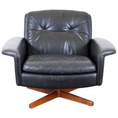 Mid-Century Black Leather Swivel Lounge Chair
