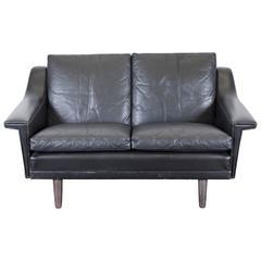 Danish Mid-Century Black Leather Settee