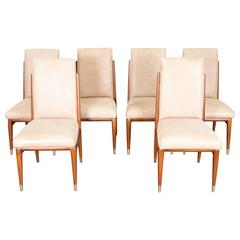 Mid-Century Eugenio Escudero Mahogany Leather Dining Chairs
