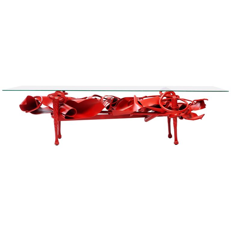 Contemporary New Muse Table in Forged, Sculpted and Painted Steel  For Sale