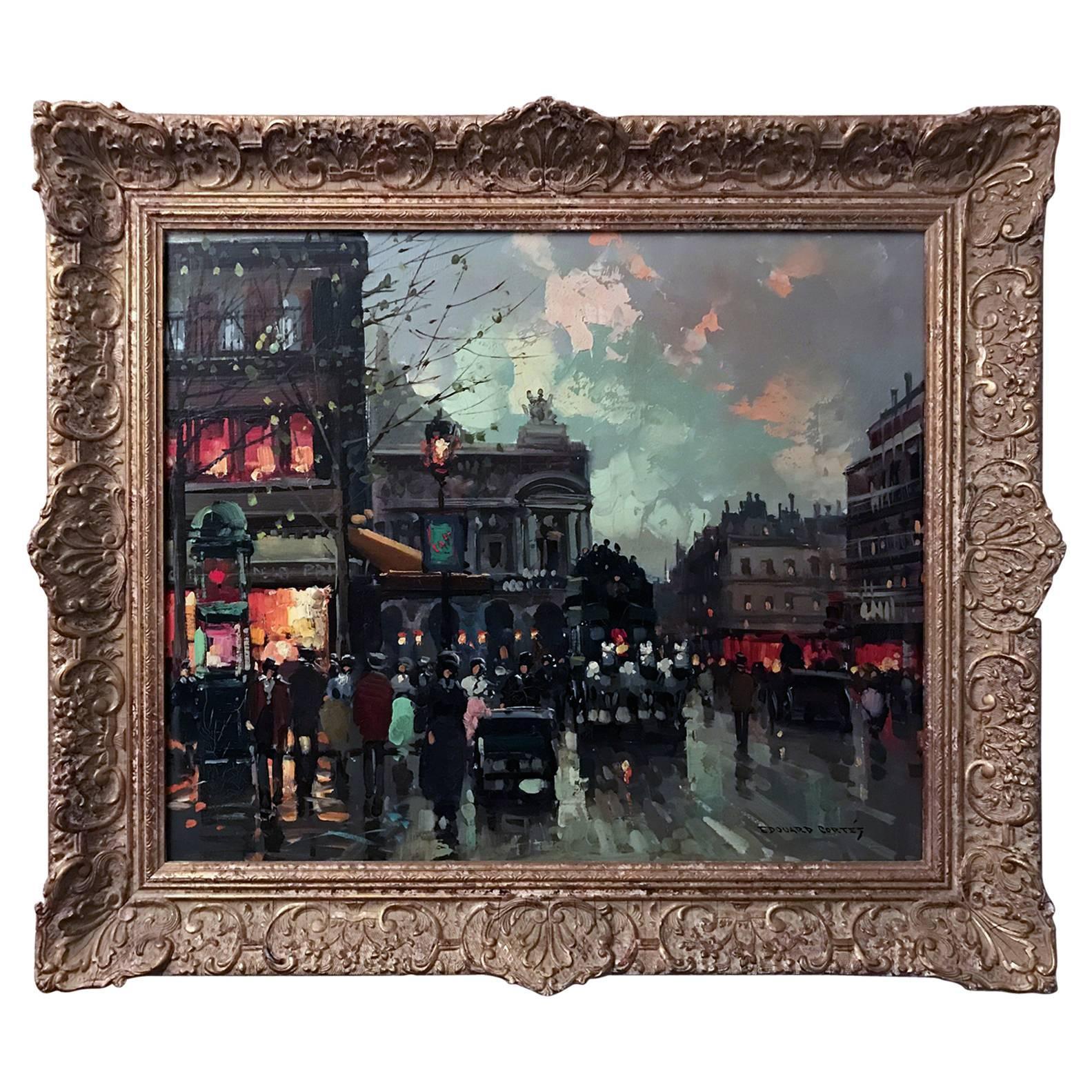 Place de L'opera Oil on Canvas Edouard Leon Cortes