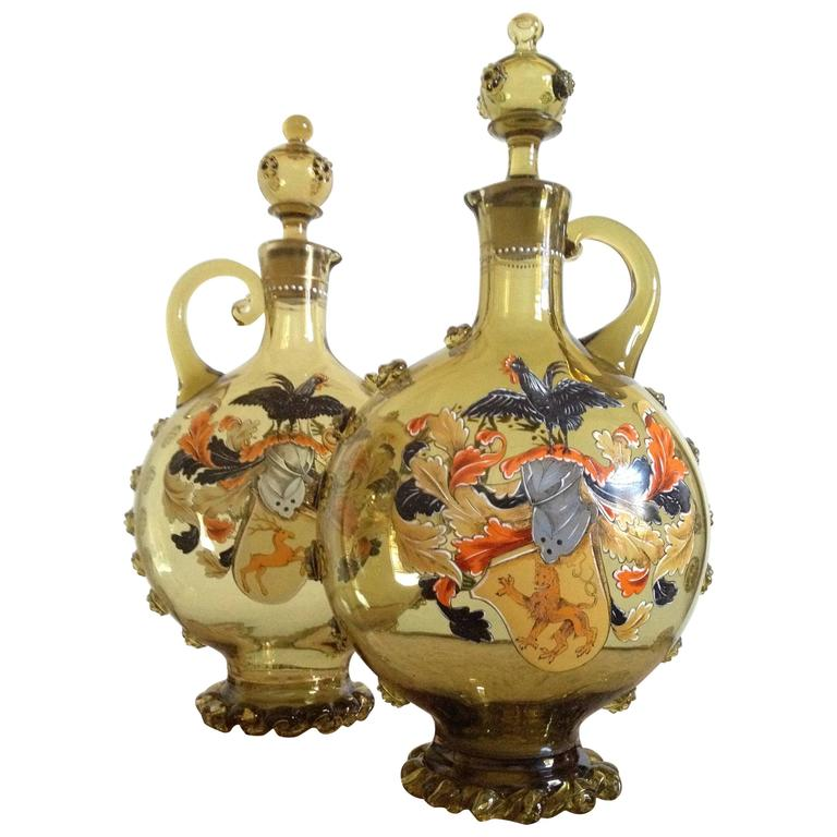 Moser Glass Decanters Armorial Enamel And Applied Glass