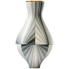 Contemporary Vase in Gray Gradient Colored Porcelain Vessel