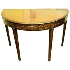 "Antique English Hand-Carved Mahogany Demi-Lune Console ""Adam"" Style"