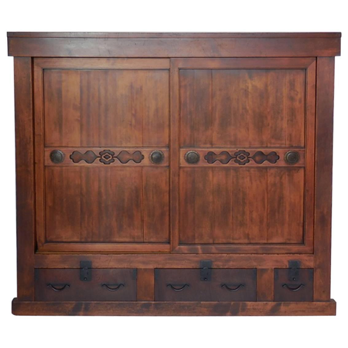 Large 19th Century Japanese Tansu Storage Chest With Sliding Doors For Sale At 1stdibs