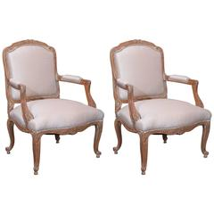 Pair of Pickled Reproduction Fauteuils with Stripe Silk and Nailhead Trim