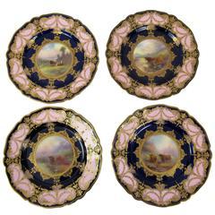 Harry Stinton Royal Worcester English Porcelain Highland Cattle Plates