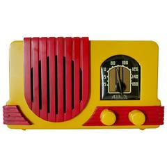 "Addison Model Two ""Waterfall"" Red and Mustard Phenolic Resin Tube Radio"