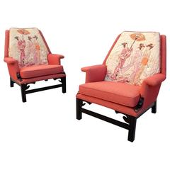 1950s style of James Mont Design Asian Modern Lounge Chairs Geisha Girl