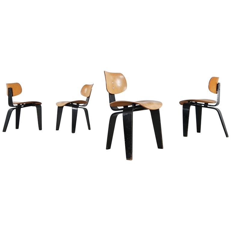 set of four egon eiermann plywood chair se 42 germany first edition 1