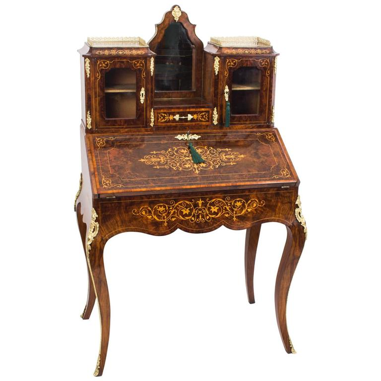 19th century victorian burr walnut inlaid bonheur du jour. Black Bedroom Furniture Sets. Home Design Ideas