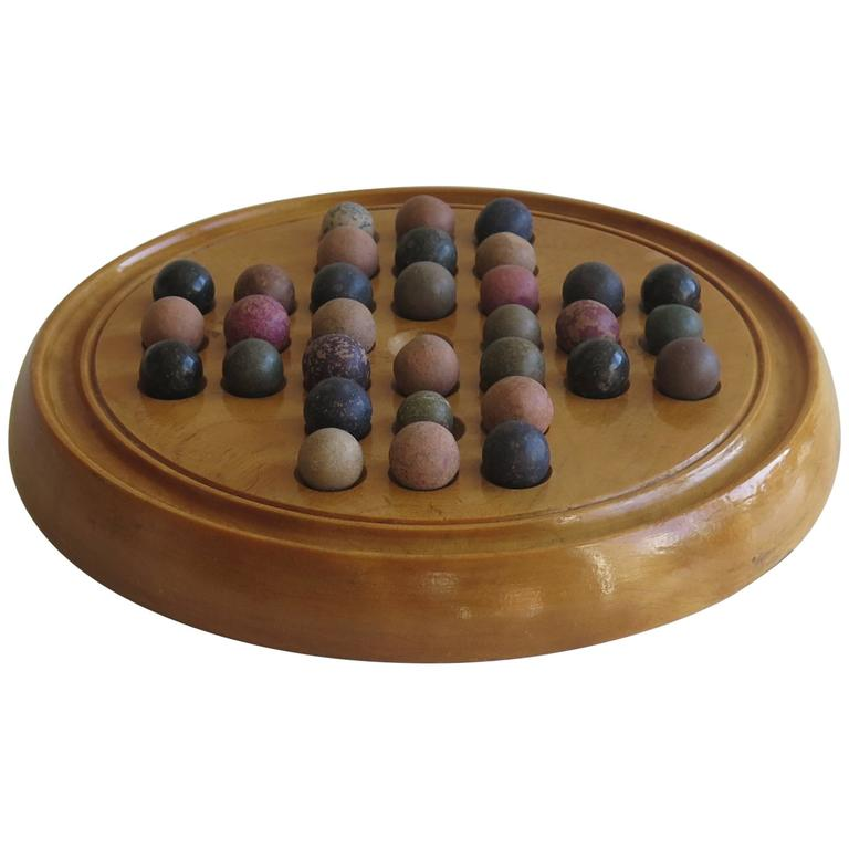 19th Century Marble Solitaire Board Game with 32 Handmade Marbles, Circa 1880 For Sale