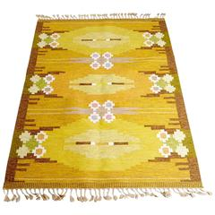 Ingegerd Silow Carpet, Signed IS, Sweden, 1940s