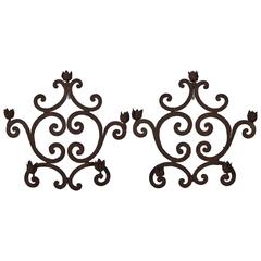 Pair of Italian Rococo Wrought Iron Five-Light Candle Sconces, Mid-18th Century