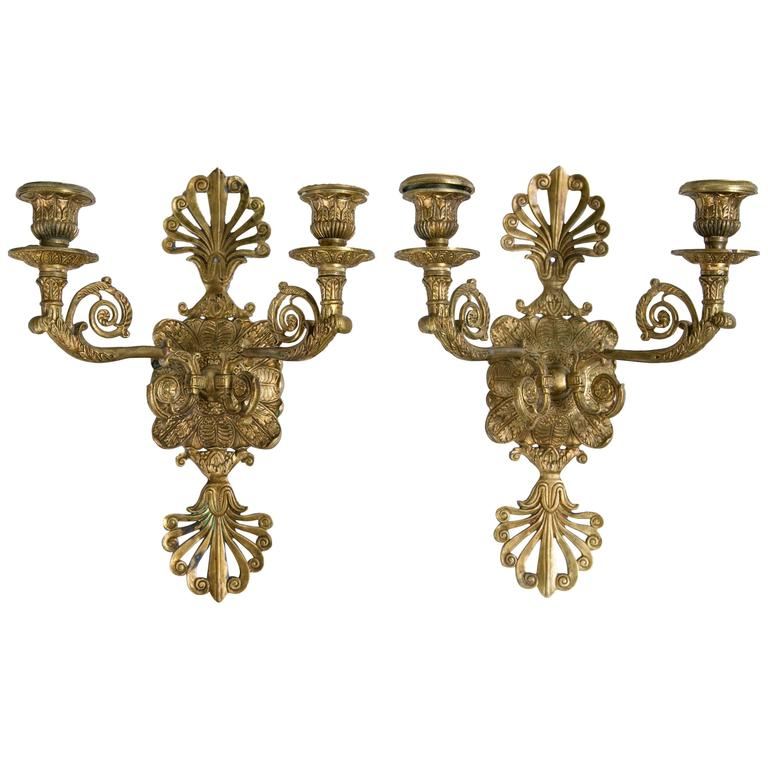 Pair of French Gilt Bronze Sconces For Sale