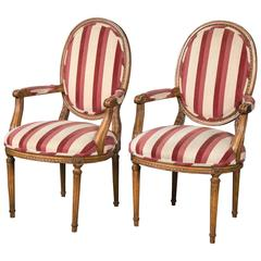 Pair of Carved French Armchairs